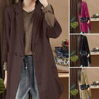 ZANZEA Femme Poches Boutons Manche Longue Casuel en vrac Simple Manteau Veste