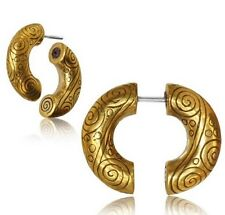 PAIR BRASS FAKE TRIBAL COILS SPIRAL PLUGS CHEATER EARRINGS HOOPS GAUGES SILVER