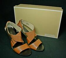 Michael Kors Odette Elastic And Leather Luggage Brown Sandals Shoes 7M
