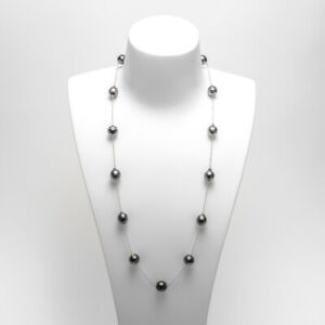 """10-11MM Baroque Black Tahitian Saltwater Pearl Long Necklace Silver Chain 26.5"""""""