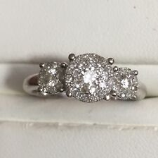 SOLID 14K WHITE GOLD NATURAL DIAMOND 3 CLUSTER ENGAGEMENT RING