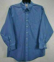 Brooks Brothers 346 Men 16.5 Shirt Blue Long Sleeve Button Up Cotton Button Down