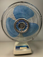 "Vintage Tatung Model LC-12 3 Speed Oscillating 12"" Blue Blade Fan RARE MODEL"