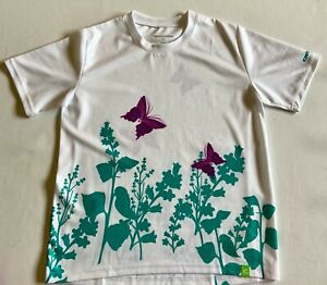 Girl's Cannondale Cycling Shirt Jersey- Large White with purple/green