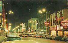1966 South Main Street at Night, Rockford, Illinois Postcard