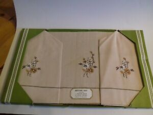 Vintage Irish Embroidered Settee Set - 2 Chair Backs and 1 Settee Back - Linen