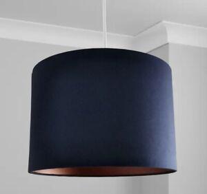 New HQ Stunning HQ Bronze Finish Matt Navy Blue Lamp Shade Pendant 30 Cm