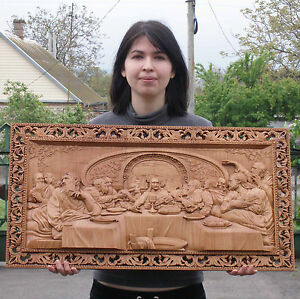 "Last Supper 3D Art Orthodox Wood Carved religious Icon - Large Jesus (32""x17"")"