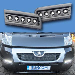 Daytime Running Lights DRL LED Pod Kit Peugeot Boxer Motorhome Black Text