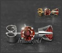 Ohrstecker 585 Gold Granat rot 3,4,5,6 mm, Damen Goldohrstecker Rund in 14 Karat