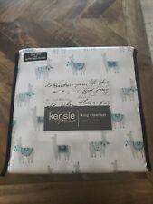 kensie home co. Blue and Grey Llama Bedding on White Llama Print Sheet Set King