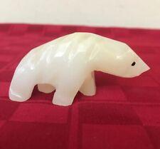 Vintage Carved Marble Stone White Polar Bear Fetish Figurine