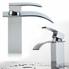 Bathroom Waterfall Basin Sink Tap Square Mixer Bath Modern Chrome Brass Faucet