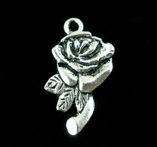 6 - Silver Tone Metal Pewter ROSE FLOWER Charms 17x11mm chs0751