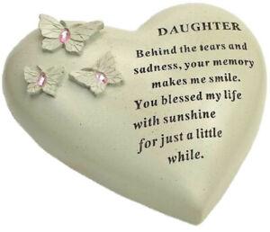Daughter Butterfly Gem Heart Graveside Memorial Ornament Plaque Garden Grave New
