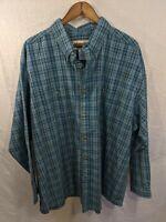 Wrangler Rugged Wear Mens Long Sleeve Button Up Plaid Blue Shirt Size 3XL