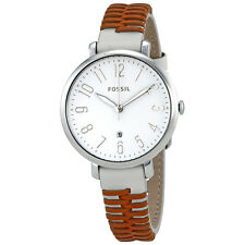 Fossil Jacqueline White Dial Ladies Woven Leather Watch ES4209
