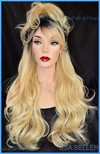 """28"""" WAVY HEAT FRIENDLY WIG COLOR TT1B613 BLOND GORGEOUS SEXY LONG THICK USA 1375"""