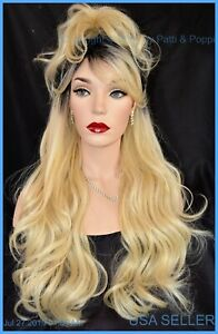 "28"" WAVY HEAT FRIENDLY WIG COLOR TT1B613 BLOND GORGEOUS SEXY LONG THICK USA 1375"