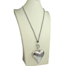 Burnished silver chunky textured large heart pendant grey leather long necklace