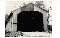 Indiana IN Postcard Real Photo RPPC c1940s RACCOON Old Covered Bridge