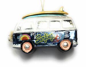 Kurt Adler 5.5 Inch Glass VW Bus Surfing Christmas Ornament