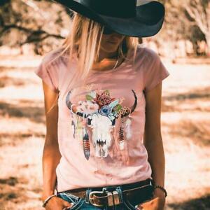 Australian Floral Cow Skull Ladies Scoop Dusty Pink Tee