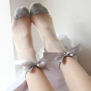 1Pair Fresh Short Socks Pearl Glass Silk Socks Ultra Thin Lace Bow Transparent