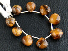 Tiger's Eye Faceted Heart Briolette Gemstone Beads