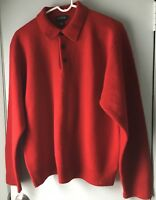 J. Crew Men's Vintage Lambswool button neck collar Sweater Red Large