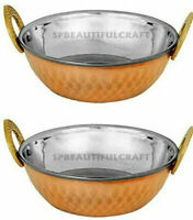 Hammered Kadai Copper Stainless Steel Serving Bowl Indian Dishes, Set Of 2 Pcs