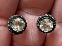 Carol Brodie Black Diamonds & Prasiolite Rhodium Plated 925 Earrings HSN $195