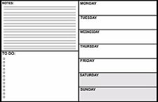 """Magnetic Dry Erase White Board Week 17"""" x 11"""" - refrigerator message grocery eat"""