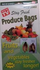 20 Stay Fresh Green Bags Reusable Vegetable Fruit Produce