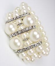 ELEGANTE Boutique Crema Perlas Cristales CZ Pulsera elástica