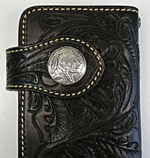 Black Indian Chief  Western Tooled Genuine Leather Mens Long Wallet Biker Cowboy