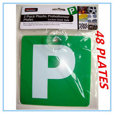 48 X GREEN P PLATE (SUCTION VARIETY) - DRIVING SCHOOL AP