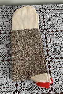 Brand New Mens Brown Heavy Red Heel SocksFor Making Sock Monkeys Size 9 - 11