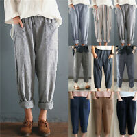 Womens Linen Cotton Elastic High Waist Harem Pants Casual Loose Baggy Trousers