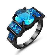 Size 9 Sky-blue Topaz 10KT blackGold Filled Women's Wedding Engagement Ring