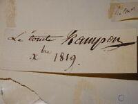 GENERAL COMTE RAMPON SIGNATURE AUTOGRAPHE NAPOLEON EMPIRE ARDECHE  1820