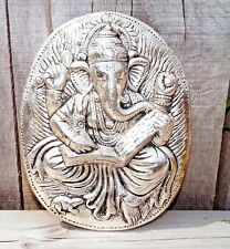 Lord Ganesha Ganesh Ganpati Face Antique Metal Wall Hanging Hindu India Pooja OM