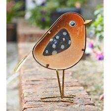 Smart Solar Glass and Metal  Robin Rosie Garden Ornament for inside or outdoors