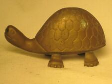 """vintage ornate metal turtle statue figure 4.25"""" x 2"""" x 2 footed amphibian animal"""
