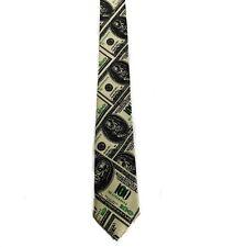 "Men Boy Unisex $$$ Dollars Benjamin Skinny Slim Retro Tie 2.5"" Wide Thin Necktie"