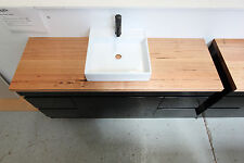Nero 1500 Wall Hung Vanity featuring 40mm Wormy Chestnut Timber Bench Top