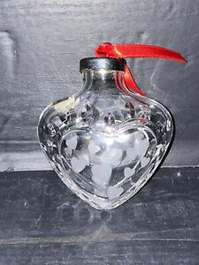 Vintage Waterford Marquis Lead Crystal Glass Heart Shaped Christmas Ornament