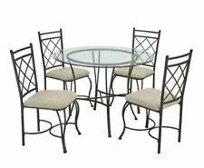 Dining Table Chair 5 pc Set Round Glass Top Metal Kitchen Dining Room Seat $250