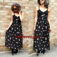 ZARA NEW BLACK PRINTED FLORAL DRESS FLOWING STRAPPY SIZE XS UK 6