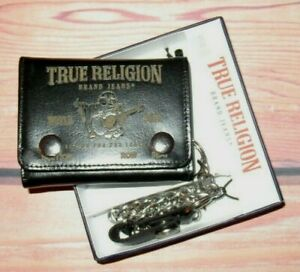 MENS TRUE RELIGION BUDDAH BLACK LEATHER SNAP CLOSURE TRIFOLD CHAIN WALLET